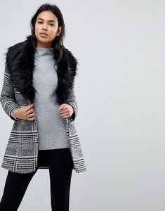 Read more about Parisian check coat with faux fur collar - black white