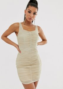 Read more about Tfnc shimmer mesh ruched mini dress in light gold