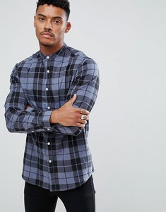 Read more about Asos design stretch slim poplin check shirt with grandad collar in blue - blue