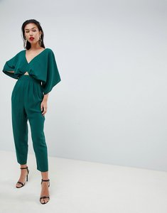 Read more about Asos design jumpsuit with kimono sleeve and peg leg - forest green