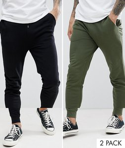 15cdad5c Read more about Asos design skinny joggers 2 pack black dark green