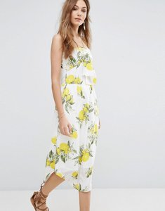 Read more about Moon river bow camisole dress in lemon print - yellow multi