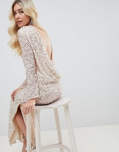 Read more about Asos design all over sequin cowl back maxi dress - beige