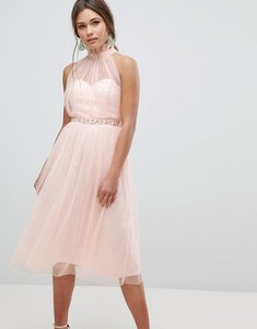 Read more about Asos embellished waist high neck tulle midi dress - nude