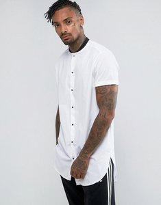 Read more about Asos regular fit super longline shirt with baseball collar and contrast poppers - white