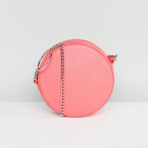 Read more about Asos round cross body bag with ring detail chain - pink