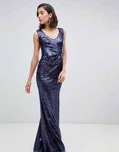 Read more about City goddess v neck sequin maxi dress with bow detail - navy