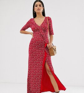 Read more about Asos design tall long sleeve wrap maxi dress in ditsy print