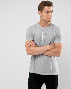 Read more about Abercrombie fitch henley t-shirt white label slim fit in grey marl - grey heather
