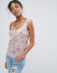 Read more about New look floral asymmetric frill cami - pink pattern