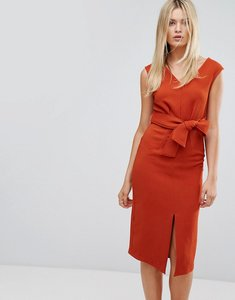 Read more about Closet midi dress with tie front - rust