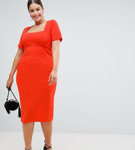 Read more about Asos design curve square neck bodycon midi dress - red