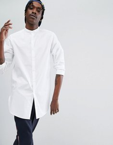 Read more about Asos regular fit super longline shirt in white with grandad collar - white