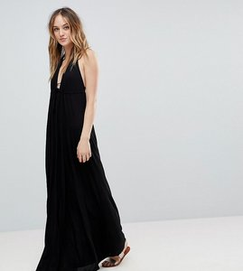 Read more about Asos design tall tie front plunge jersey maxi beach dress - black