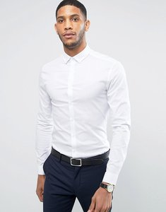 Read more about Asos super skinny shirt in white with button down collar - white
