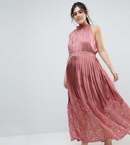 Read more about Little mistress plus ruffle high neck maxi dress with lace pleated skirt - rose