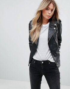 Read more about Mango leather biker jacket - black