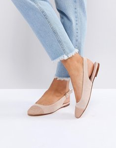 Read more about Office flossy glitter toe cap flat shoes - nude