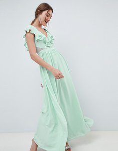 Read more about Asos design frill wrap lace insert maxi dress - mint