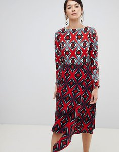 Read more about Closet london contrast print midi shift dress in multi - multi