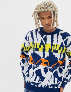 Read more about Collusion jacquard knit jumper in blue - multi