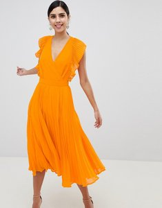 Read more about Asos design pleated ruffle midi dress with cut outs - orange