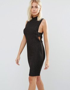 Read more about Vila sleeveless bodycon dress with cut out sides - rose gold