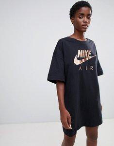 Read more about Nike air black contrast logo t-shirt dress - black