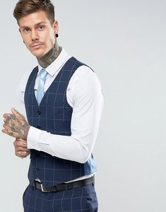 Read more about Harry brown skinny fit blue grid waistcoat - blue