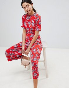 Read more about Traffic people floral print culotte jumpsuit - red