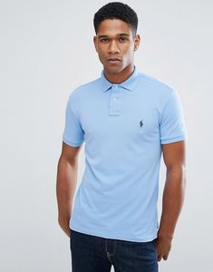 Read more about Polo ralph lauren pique polo slim fit in light blue - new harbour blue