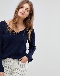 Read more about Esprit lightweight knitted jumper with frill cuff - navy