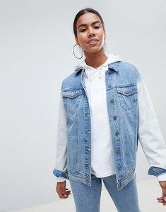Read more about Noisy may bleach sleeve denim jacket - medium blue denim
