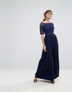 Read more about Little mistress off shoulder lace maxi dress with pleated skirt - navy
