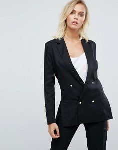 Read more about Fashion union double breasted blazer with pearl buttons - black