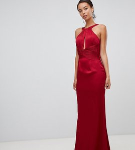 Read more about Little mistress tall satin maxi dress with keyhole and gathered detail