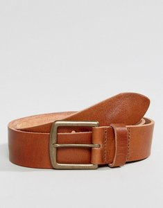Read more about Asos leather wide belt in tan - tan