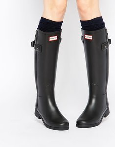Read more about Hunter original refined back strap black wellington boots - black