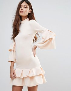 Read more about Club l high neck double ruffle dress - nude