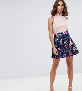 Read more about Asos petite scuba lantern mini skirt in print - multi