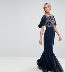 Read more about Amelia rose embellished maxi dress with fluted chiffon sleeve - navy