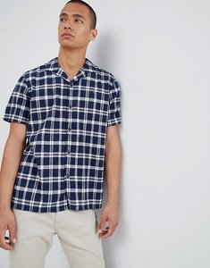 Read more about Farah prestwich check revere collar short sleeve shirt in navy - 412