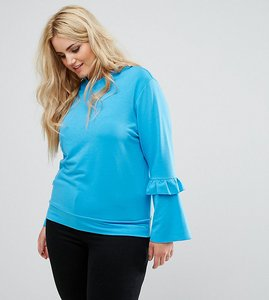 Read more about Alice you ruffle and fluted sleeve jumper - blue