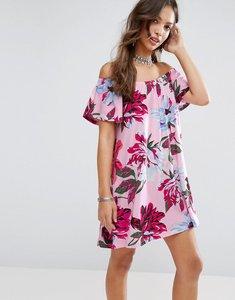 Read more about Asos off shoulder sundress in pink floral print - pink floral