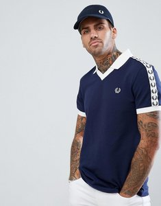 Read more about Fred perry sports authentic taped polo in navy - 266