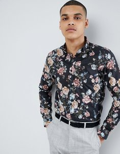 Read more about Selected homme smart shirt with all over print in slim fit - black aop