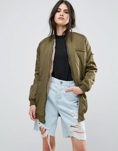 Read more about Missguided longline khaki bomber jacket - green