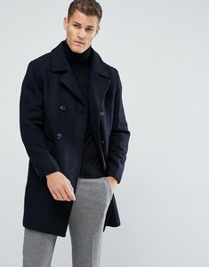 Read more about Stradivarius double breasted wool overcoat in navy - navy