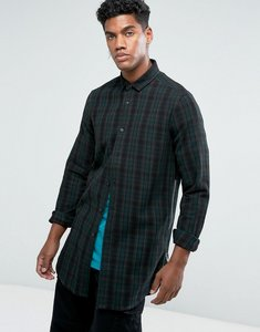 Read more about Asos regular fit longline check shirt with side zips in longline - brown