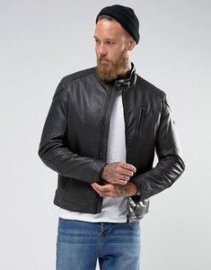Read more about Barbour international slim fit winter sprocket leather jacket in black - black